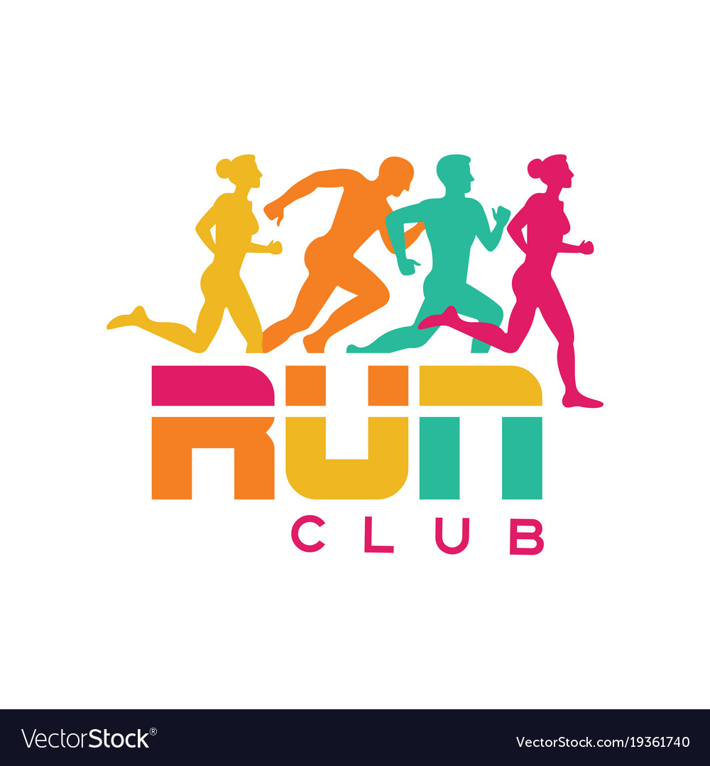 Run club logo template colorful emblem with