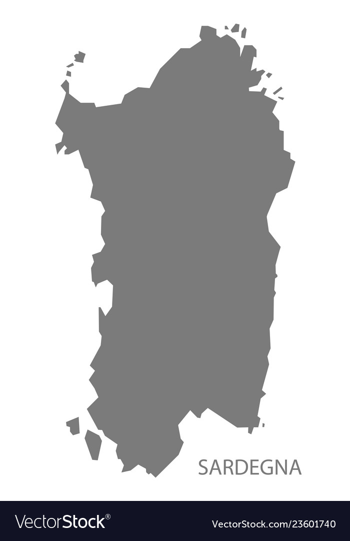 Sardegna Italy Map Grey Royalty Free Vector Image