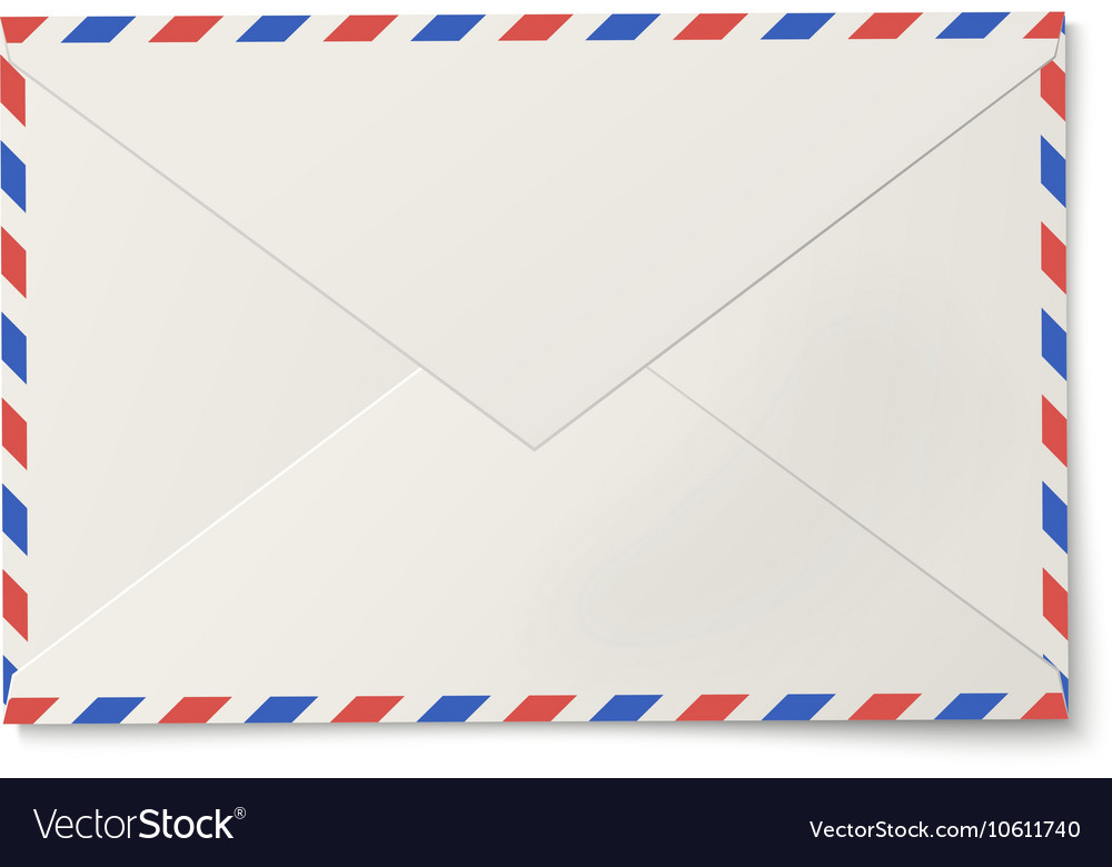 Sealed air mail white envelope isolated