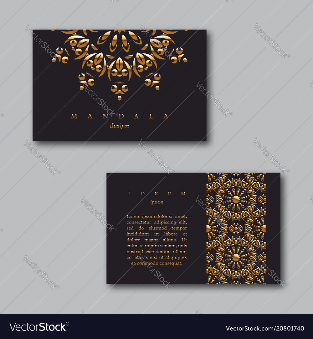 Set of ornamental business golden cards with
