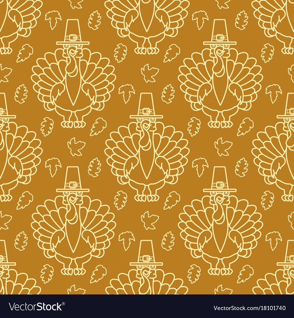Thanksgiving holiday seamless pattern turkey and