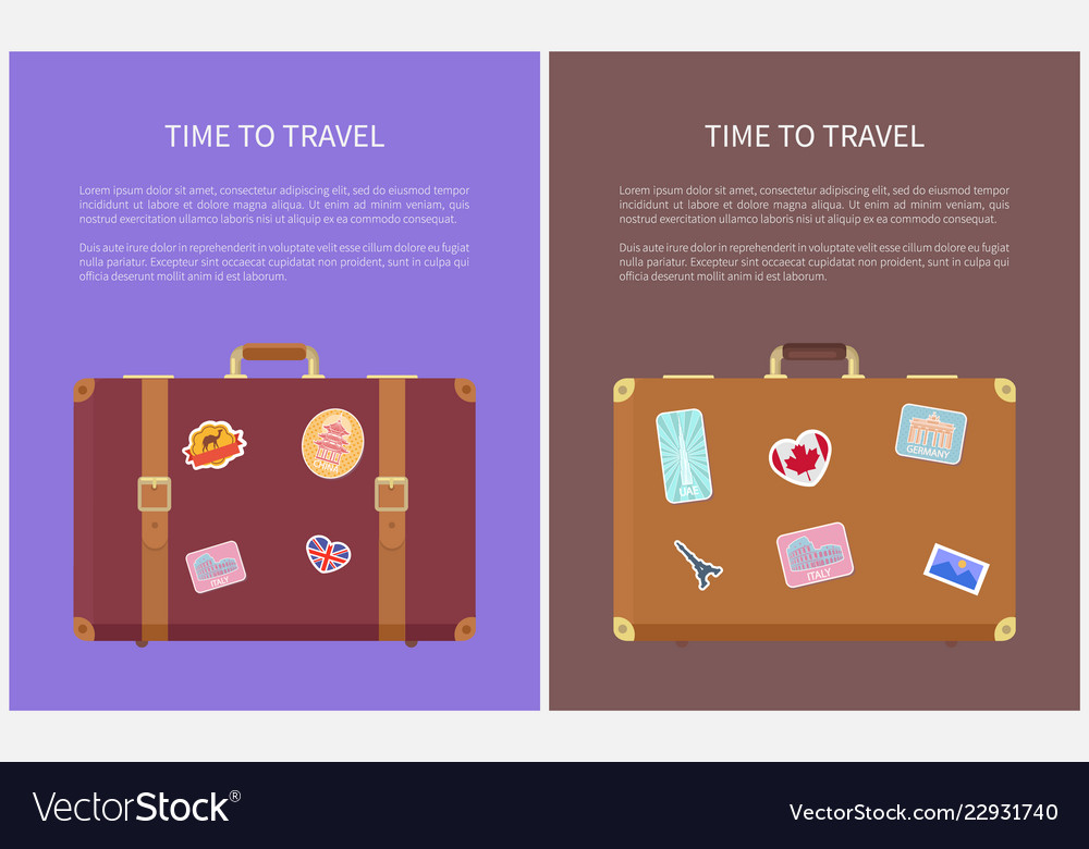 Time to travel luggage stickers posters