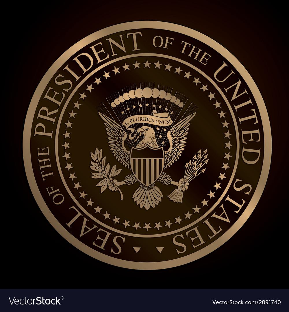 US Golden Presidential Seal Emboss