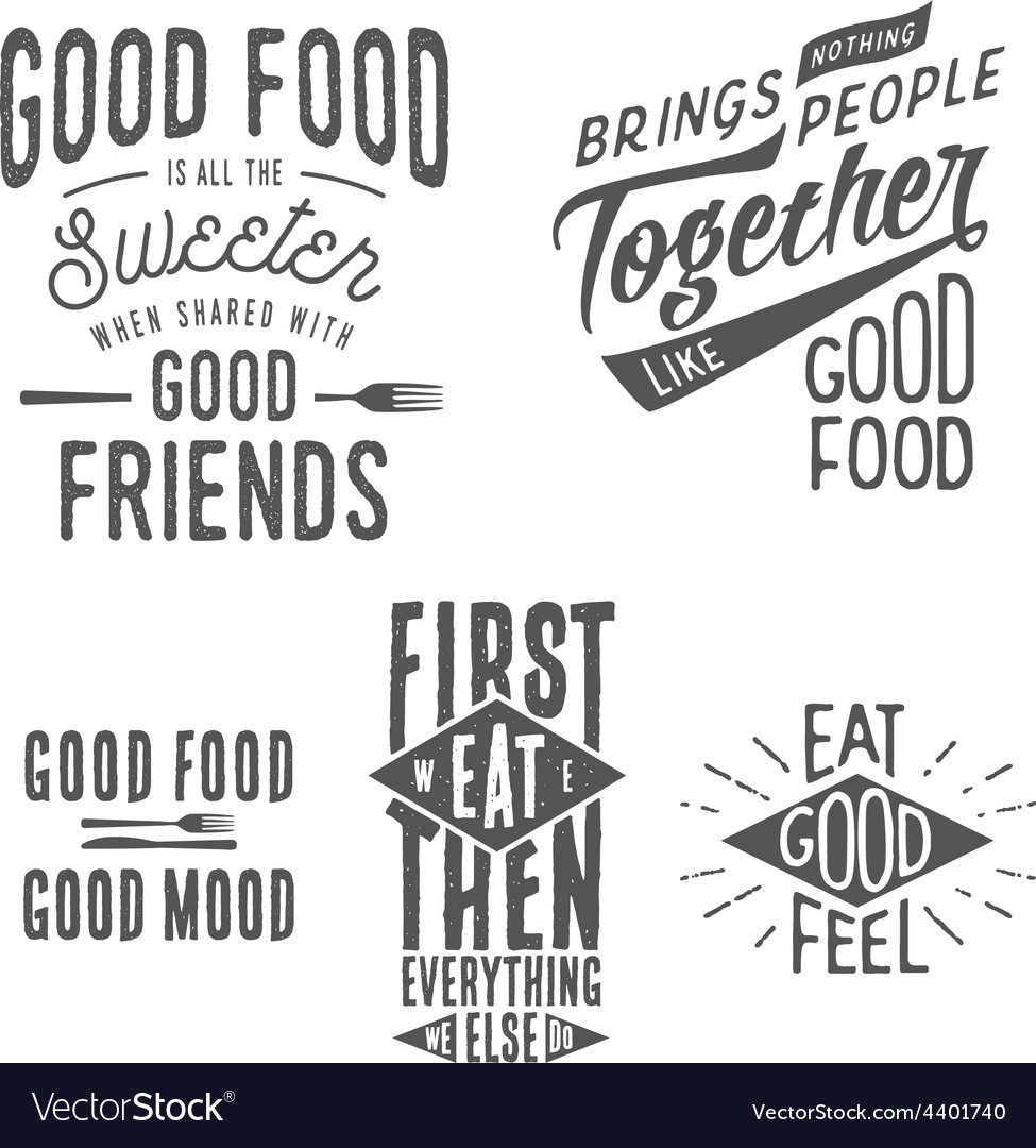 Vintage Food Related Typographic Quotes Royalty Free Vector