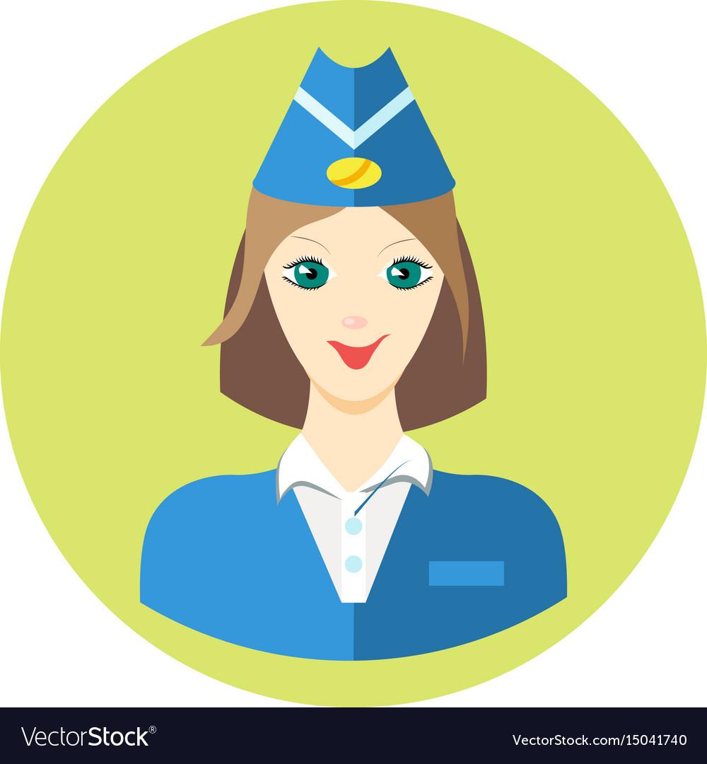 Woman stewardess iconin a flat style image vector image