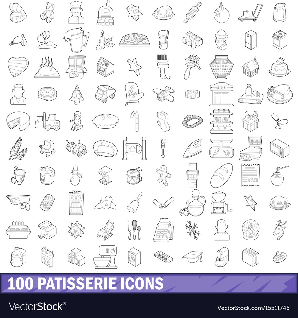 100 patisserie icons set outline style