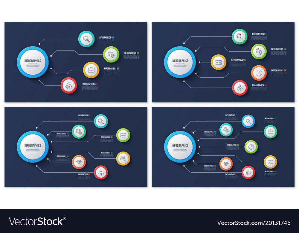 4 5 6 7 options infographic designs