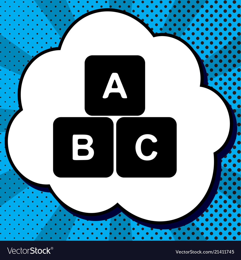 Abc cube sign black icon in