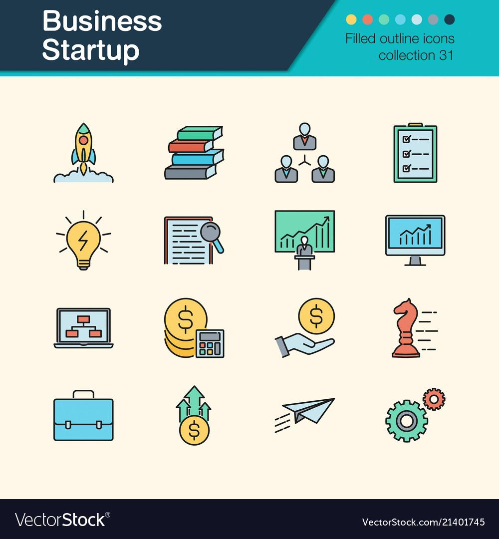 Business startup icons filled outline design