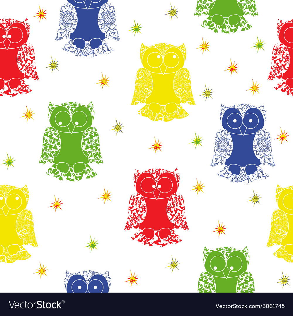 Different colour owl and stars seamless pattern vector image
