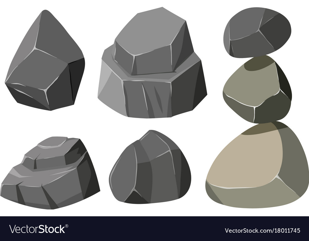 Different shapes of gray rocks