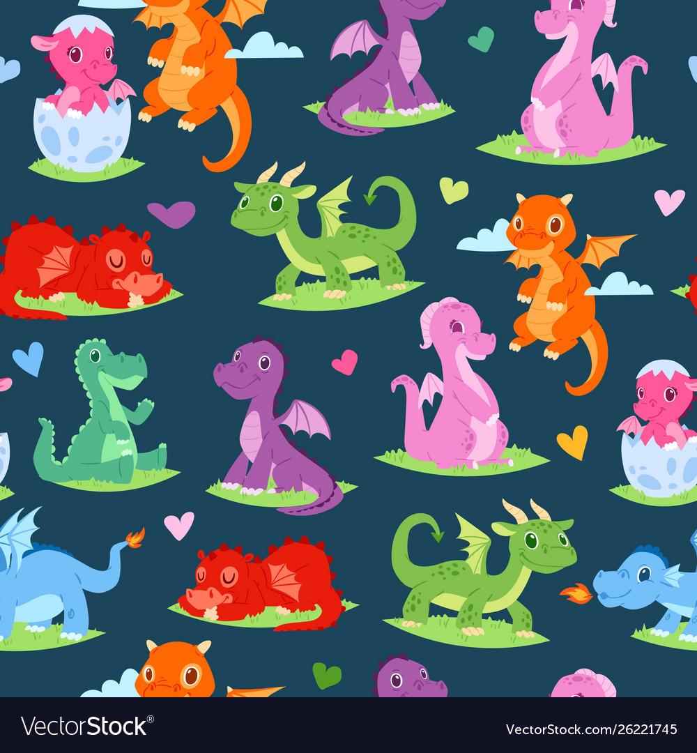 Dragons children seamless pattern