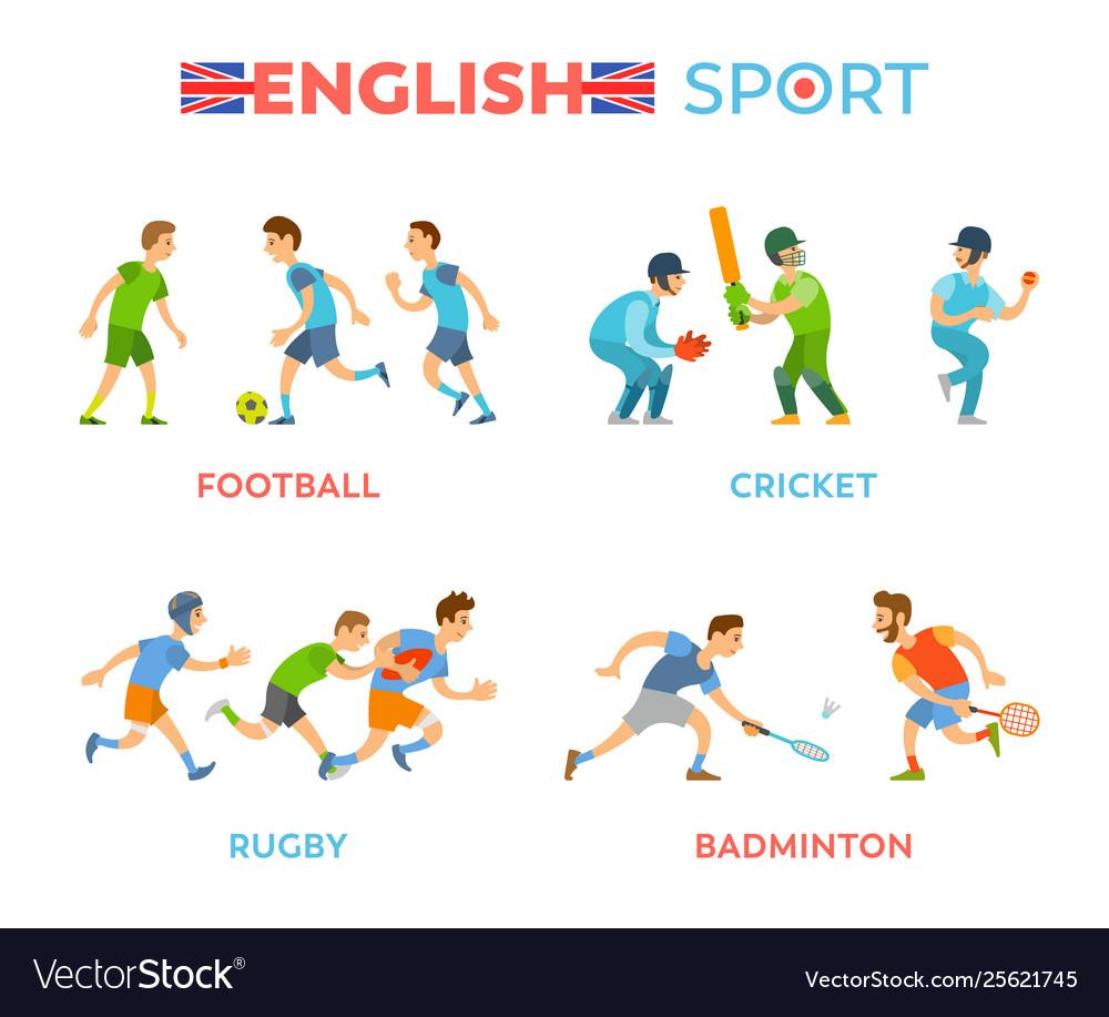 English sport football cricket rugbadminton