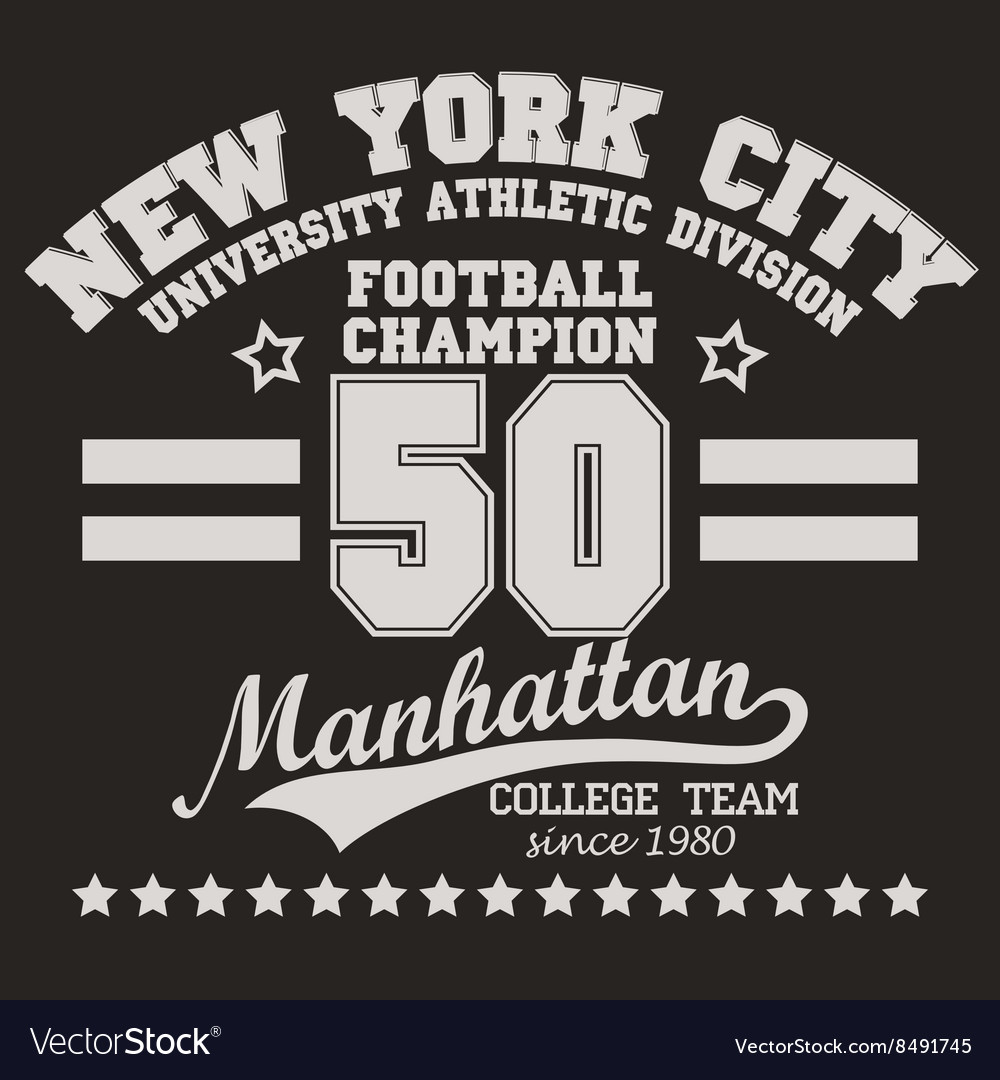 Manhattan T Shirt Graphics Royalty Free Vector Image