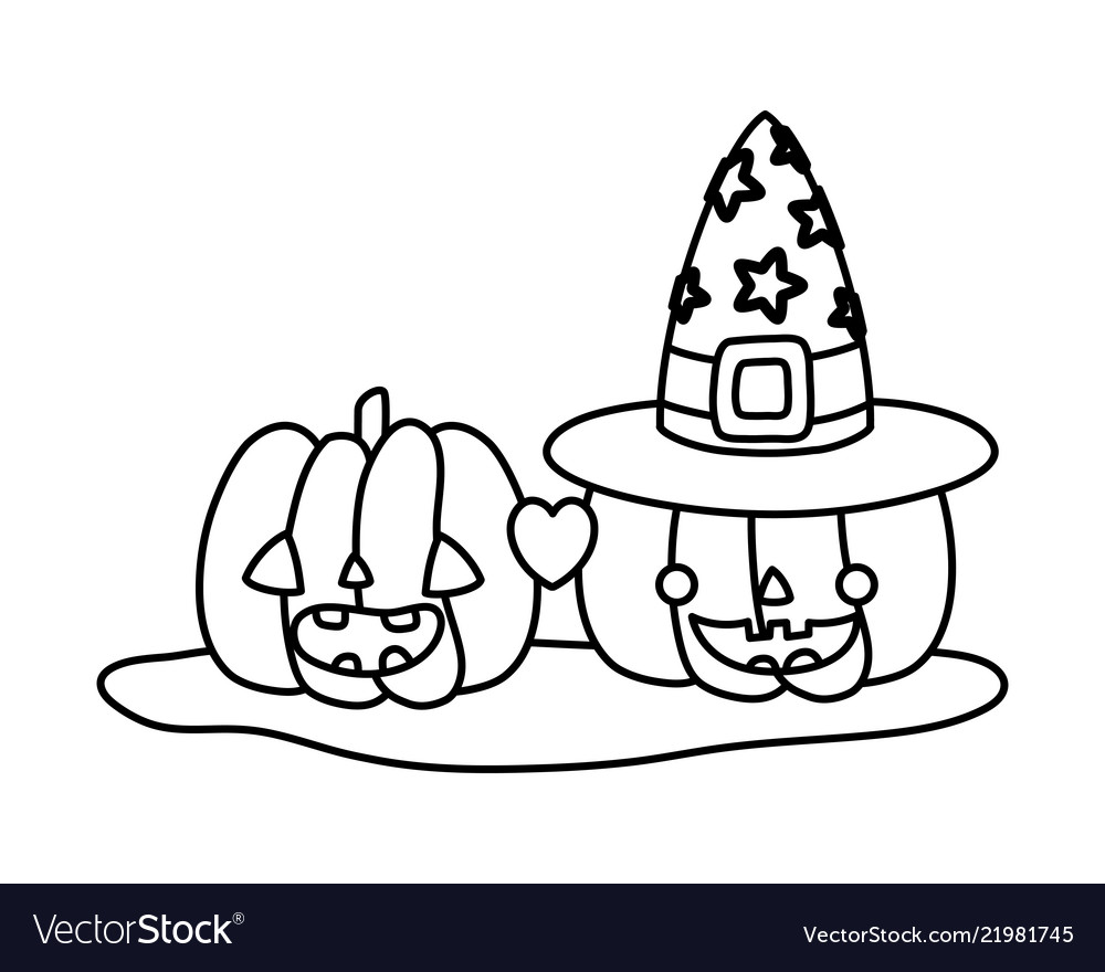 Outline Happy Pumpkins In Love With Witch Hat Vector Image