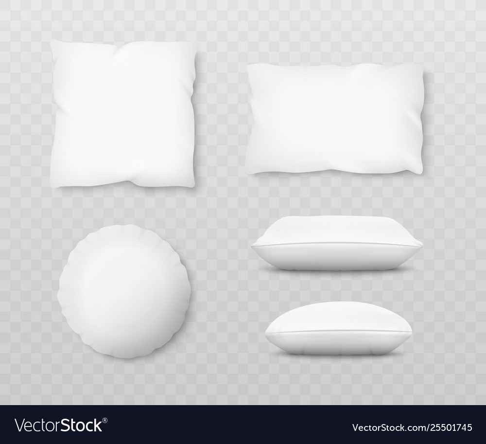 Set realistic white pillow mockups with 3d