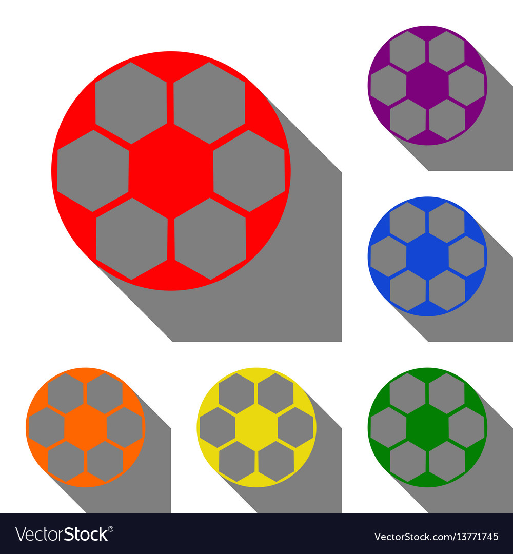 Soccer ball sign set of red orange yellow vector image