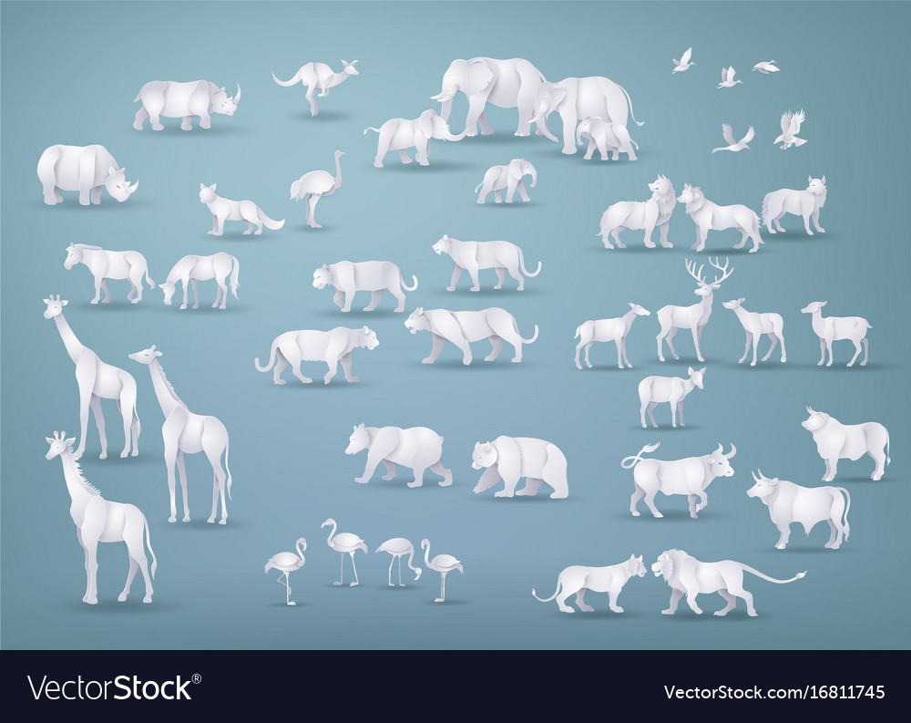 Wild animals in many types paper art and origami