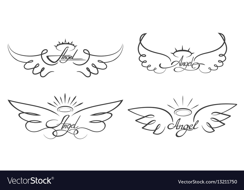 Angel wings drawing winged
