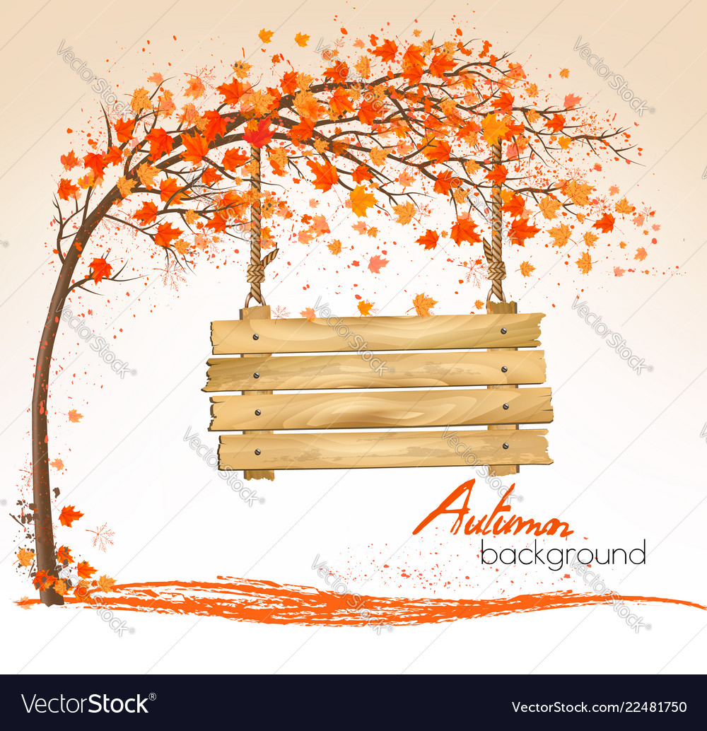 Autumn nature background with a tree and a wooden