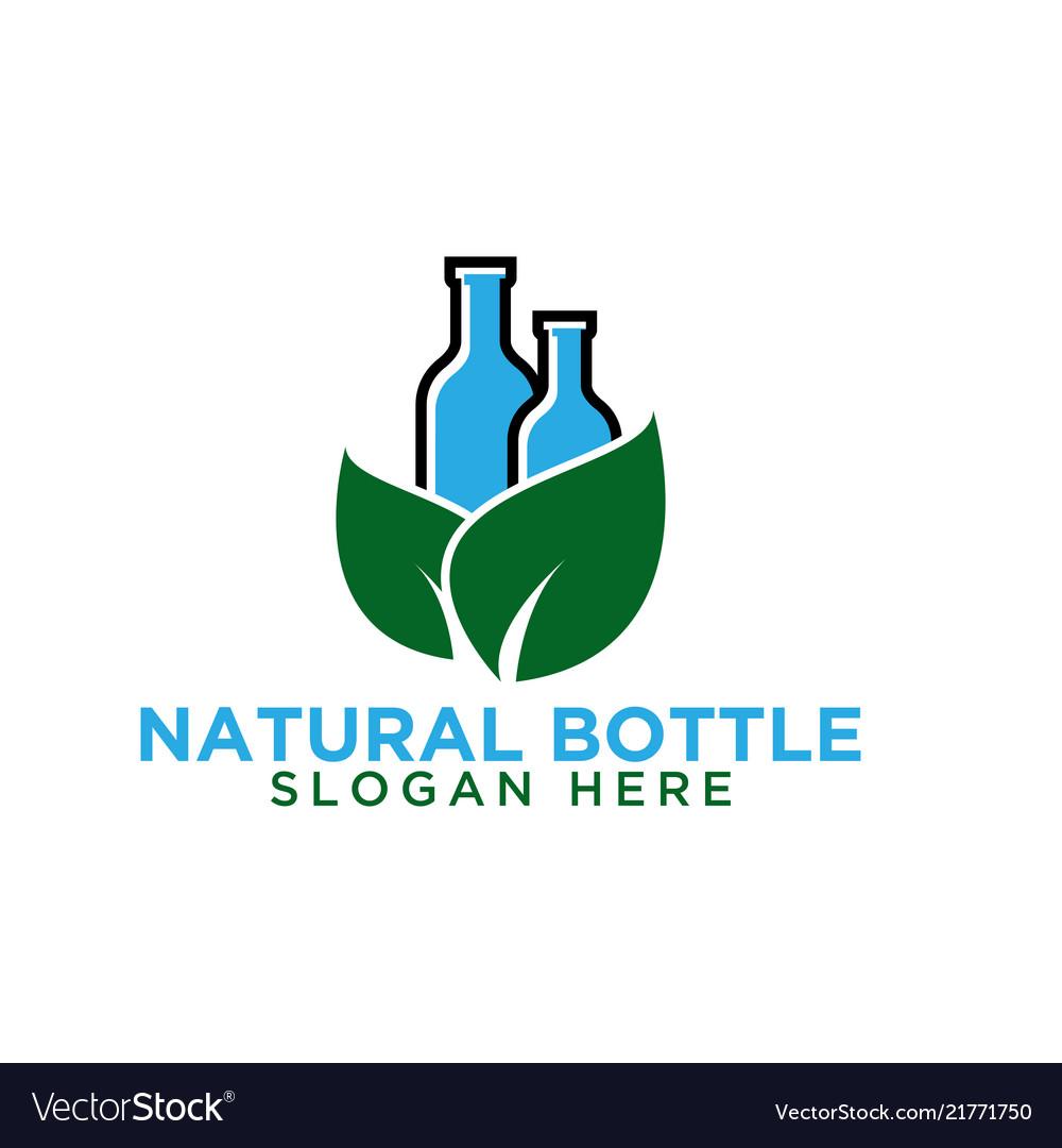 Bottle and leaf logo design template