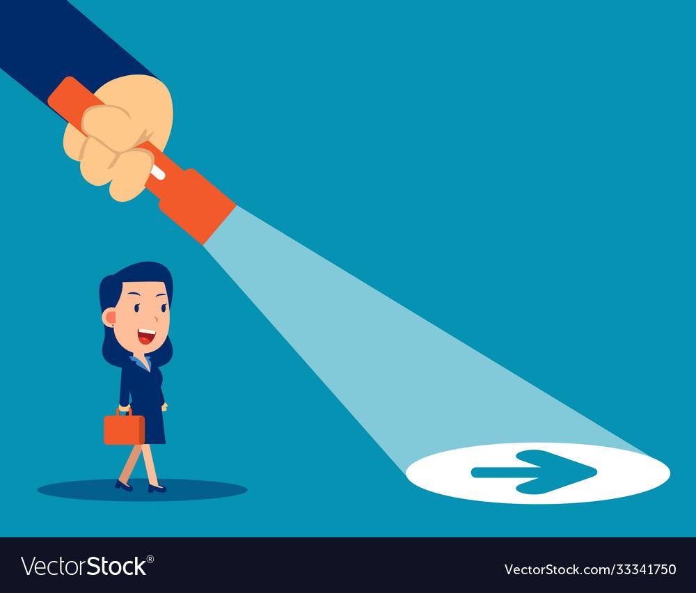 Business leader flashlight uncovering hidden