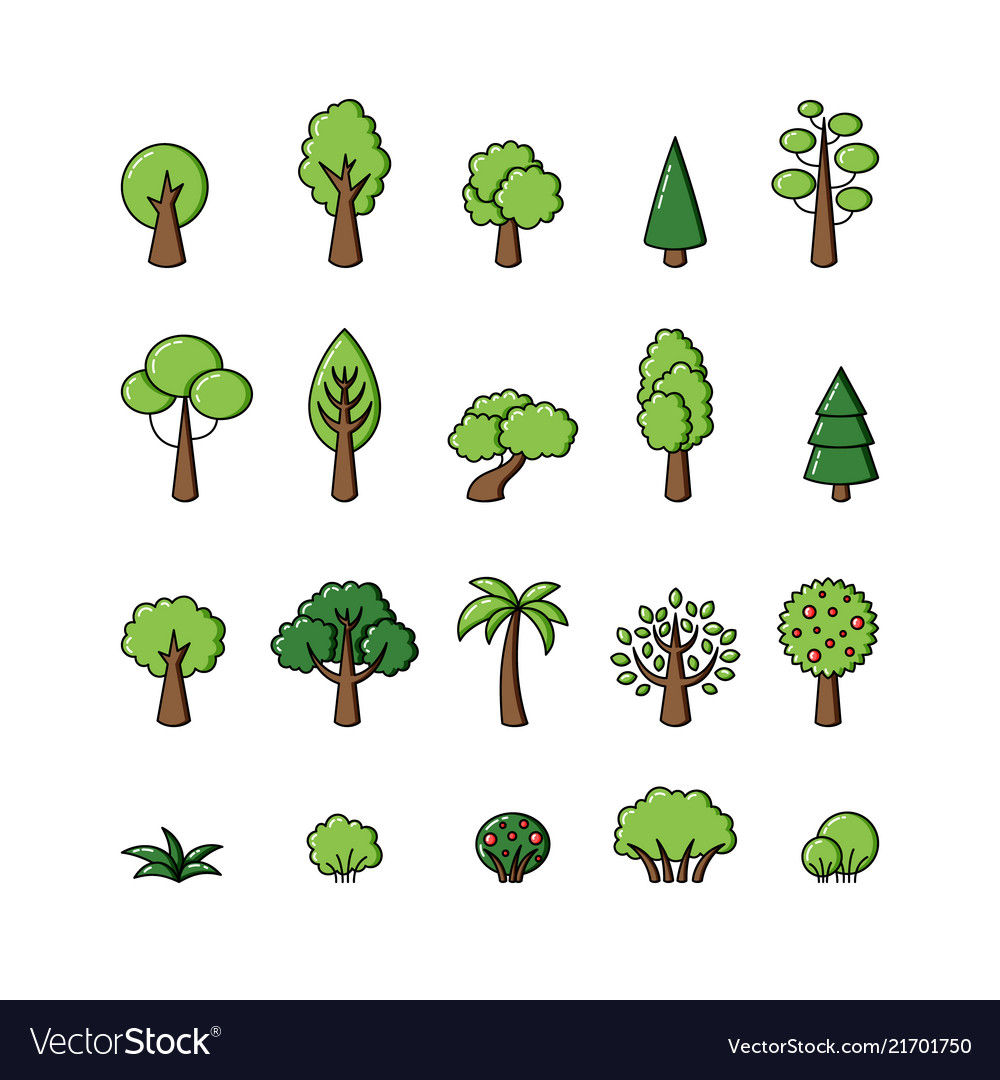 Collection of tree icons template for logo