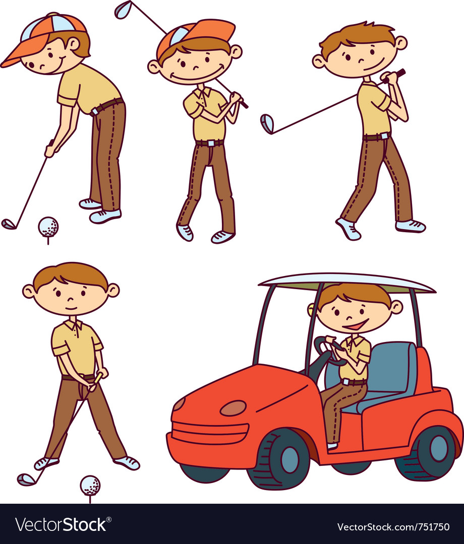 Cute doodle golf players set