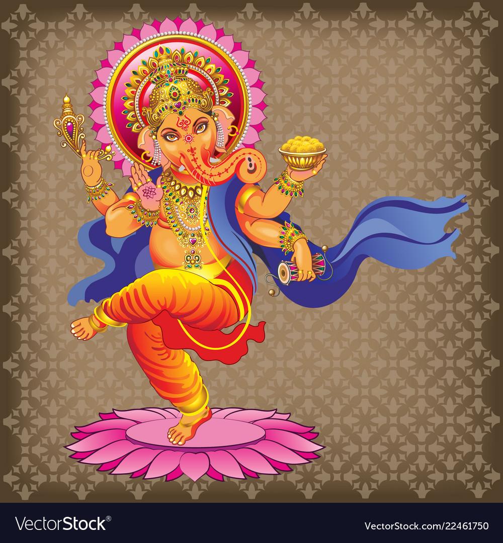 Dancing ganesha on ornamented background