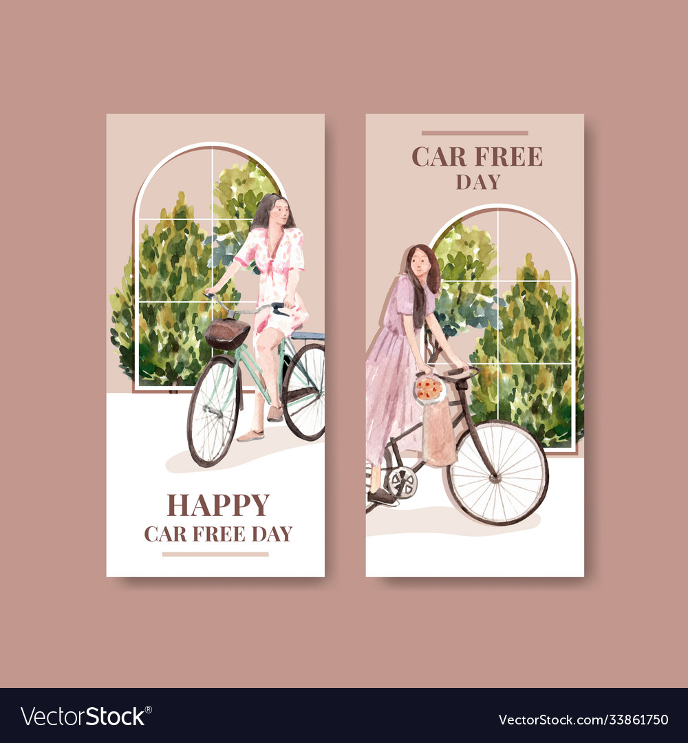 Flyer template with world car free day concept