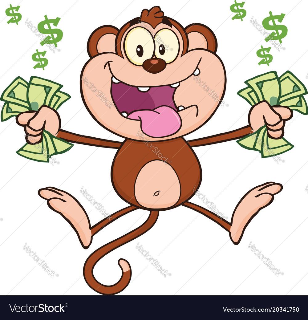 Funny monkey cartoon character jumping