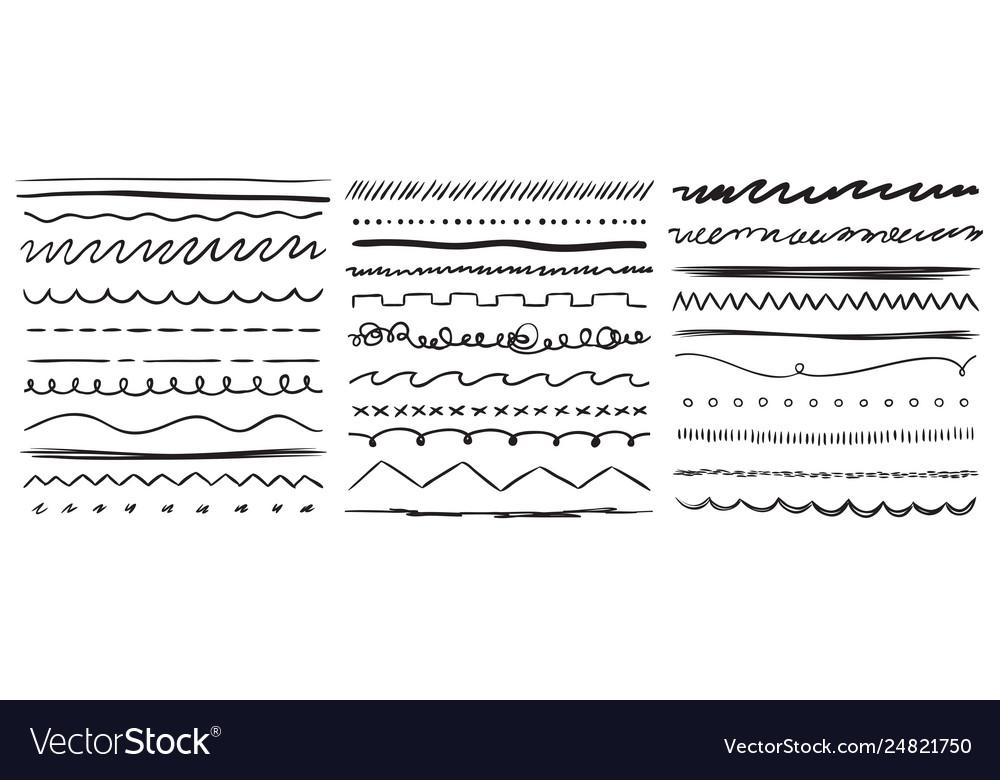 Hand drawn lines marker line divider handmade