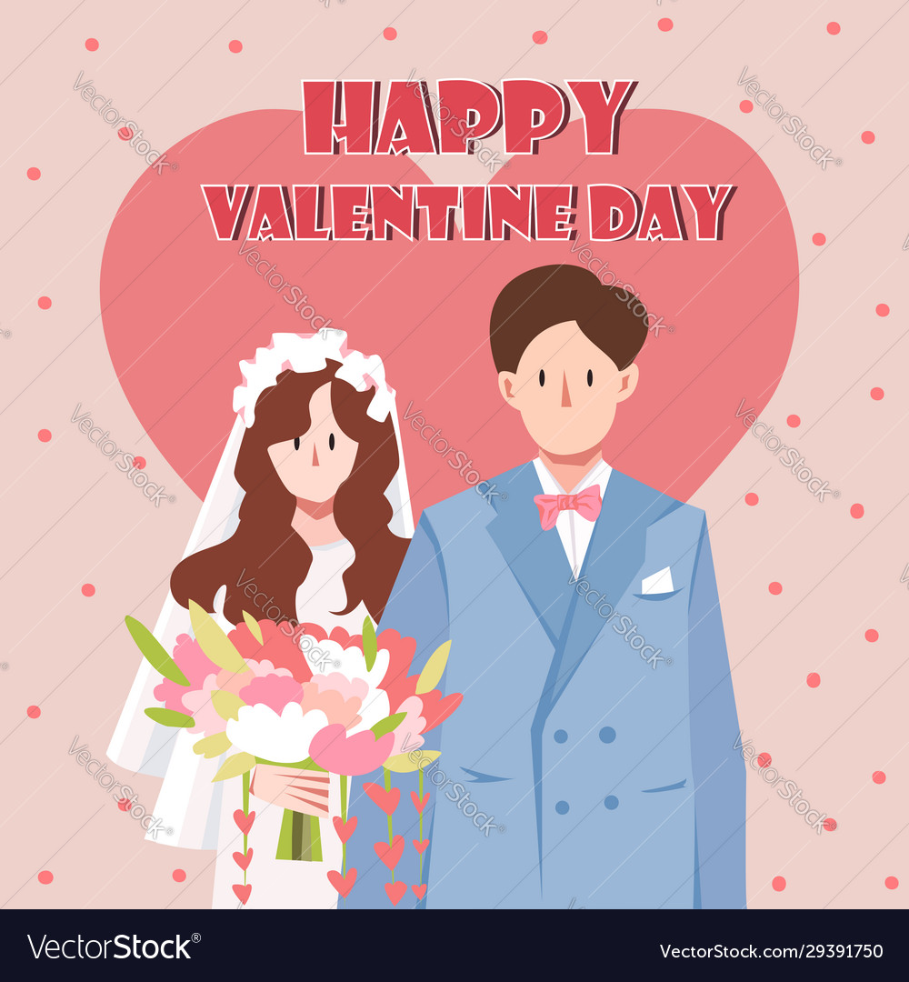 Happy valentines day with couple wedding just