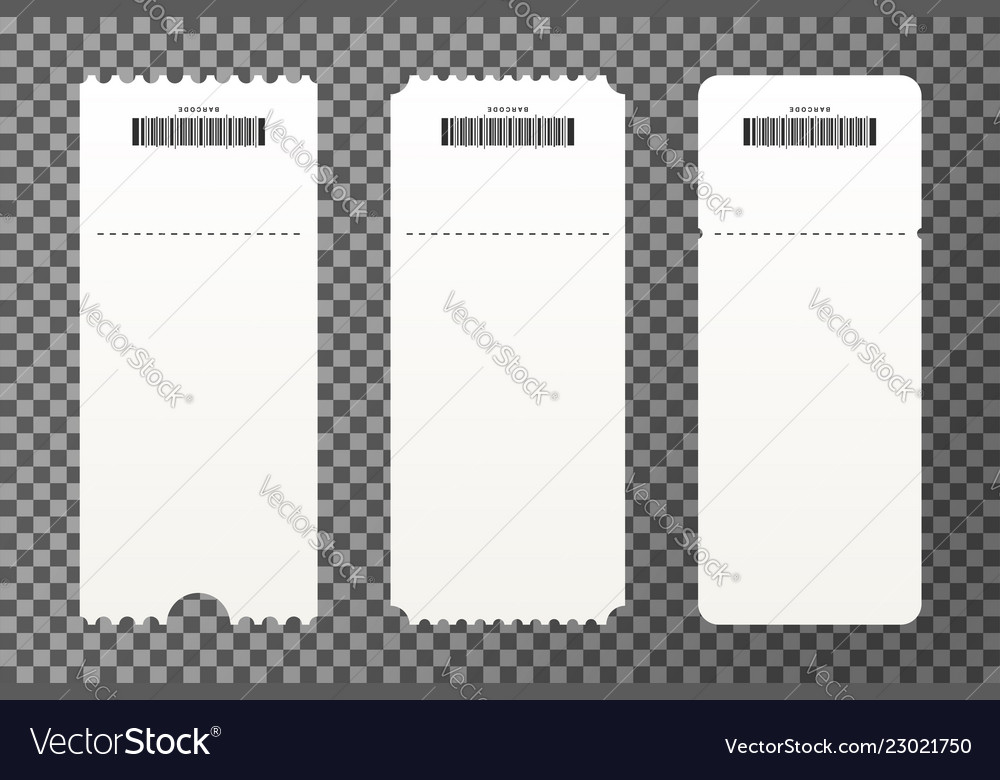 Set of empty ticket templates isolated on