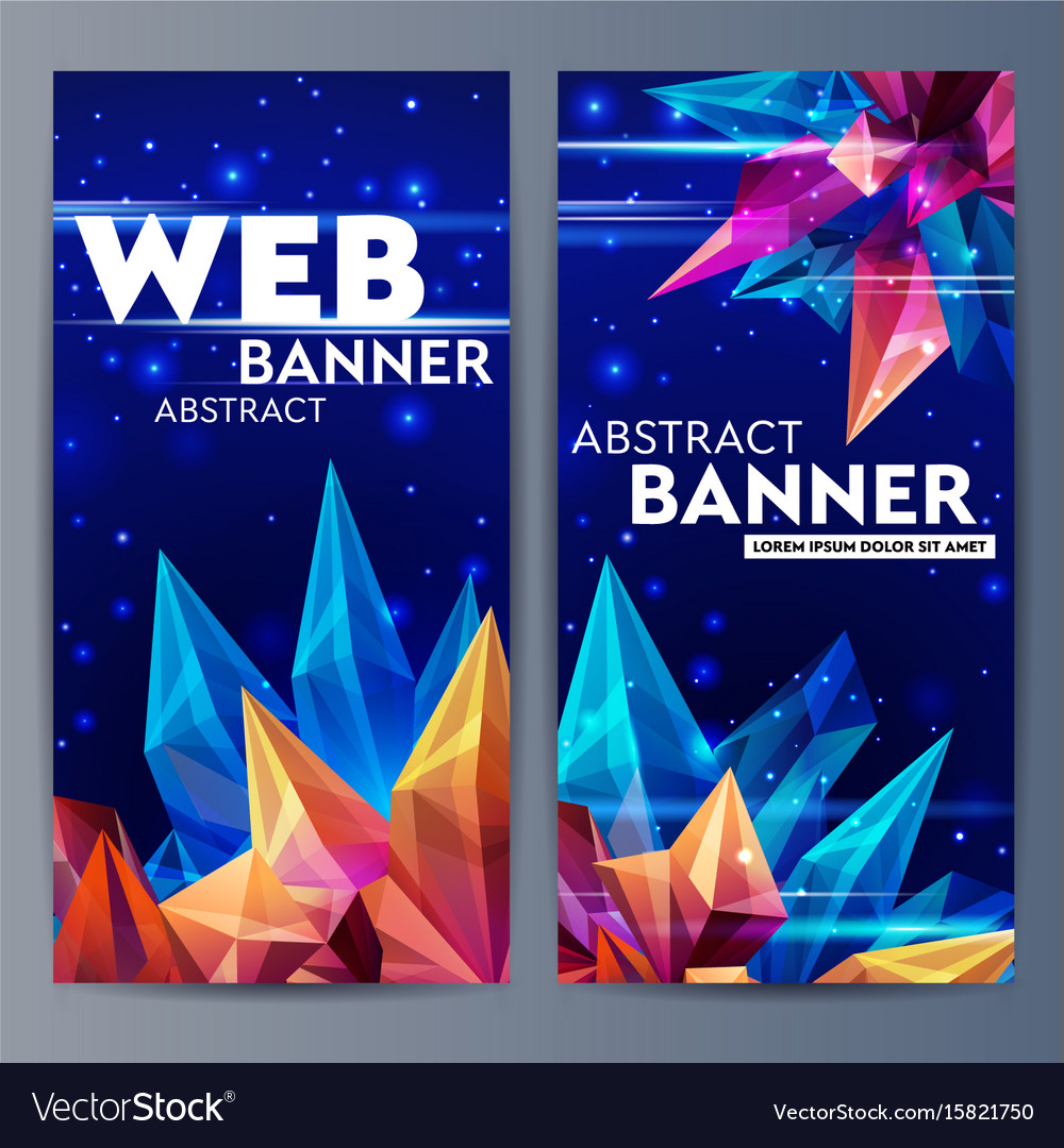 Web banners with faceted crystals glass asteroid