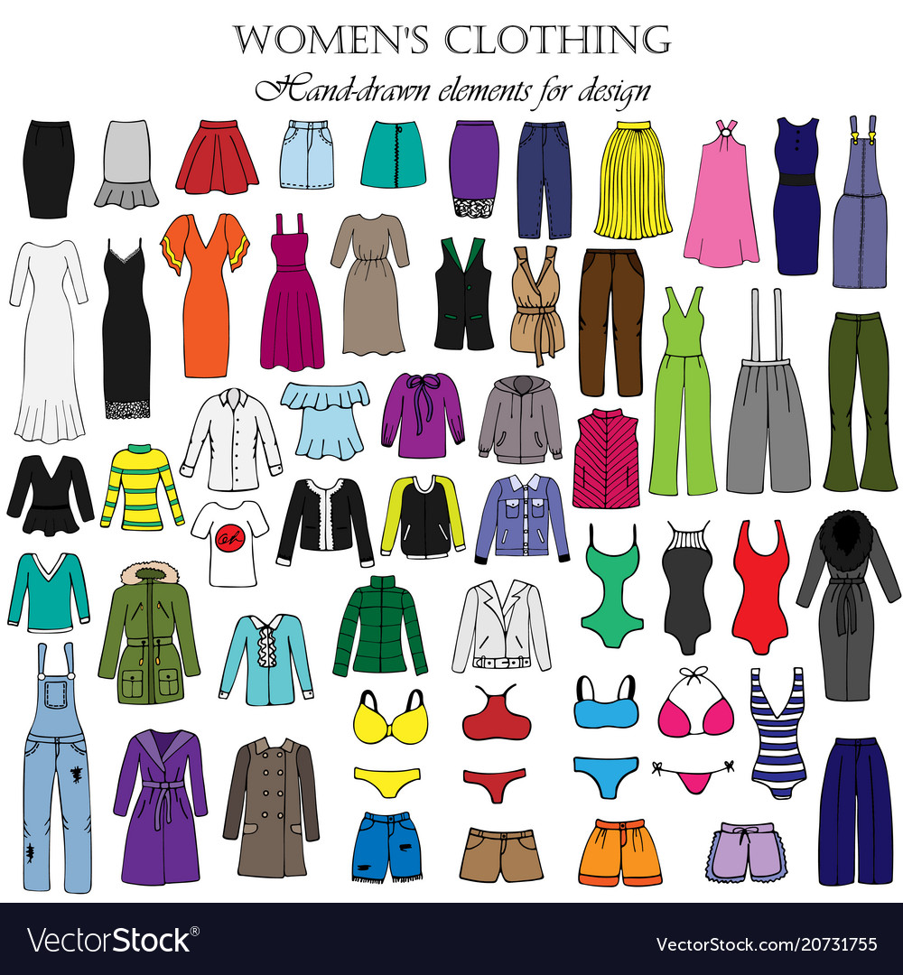 Color set of hand-drawn womens clothing