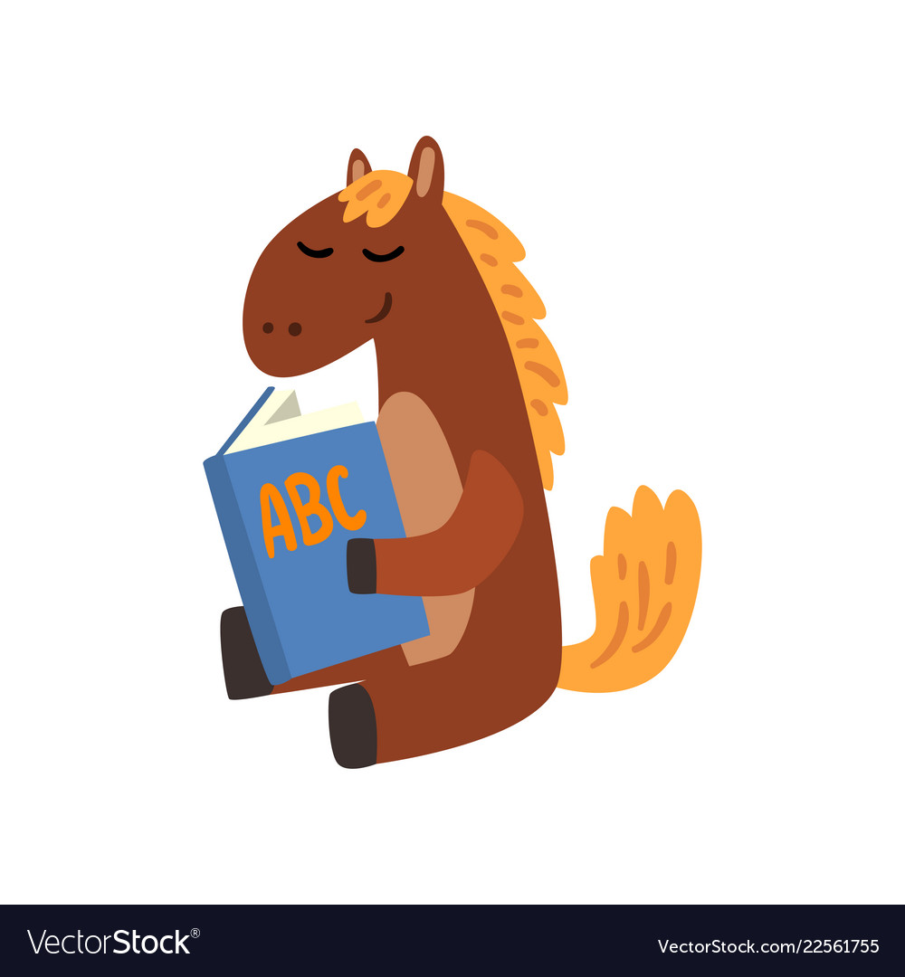 Cute Horse Animal Cartoon Character Reading A Book