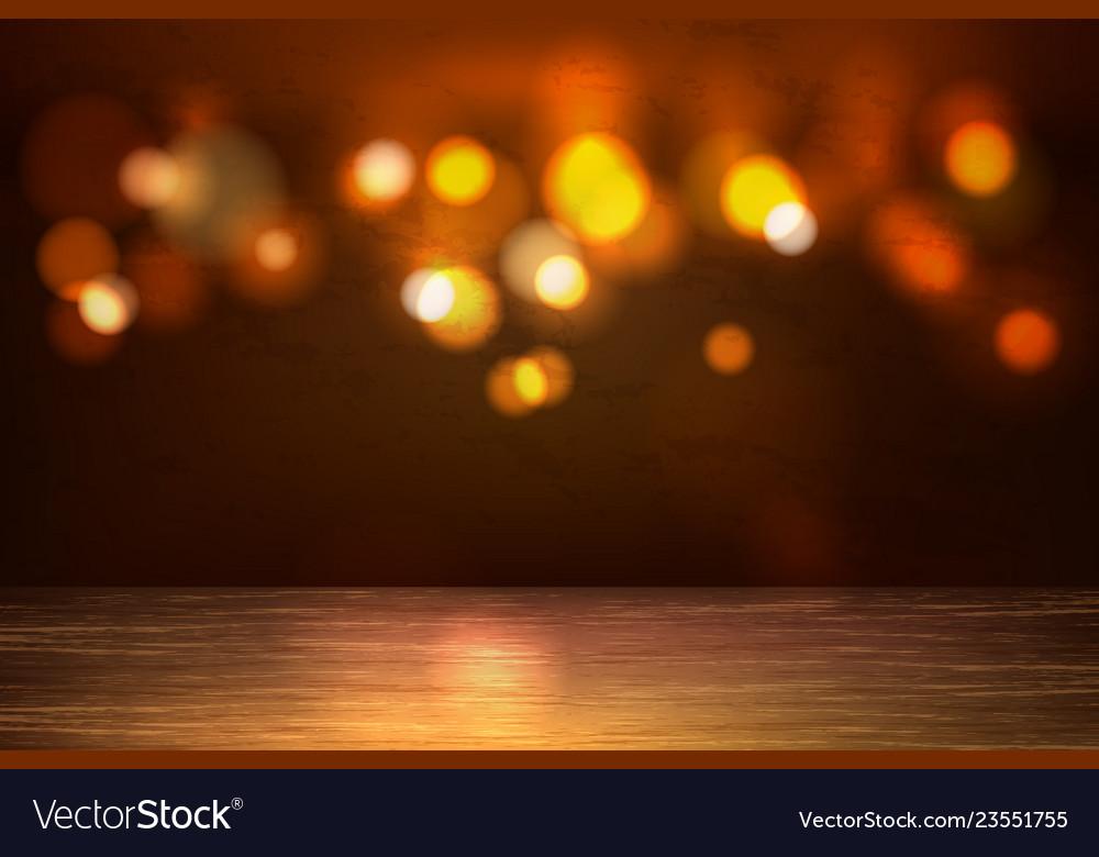 Empty wooden table bokeh lights backdrop