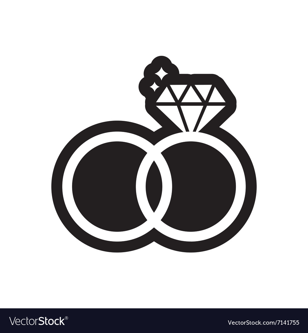 flat icon in black and white style wedding rings vector image vectorstock
