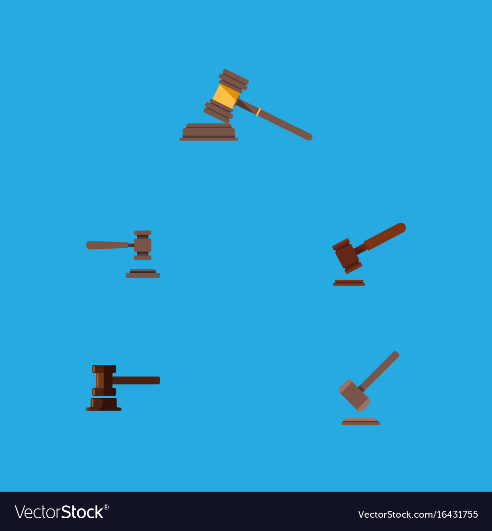 Flat icon lawyer set of justice court tribunal