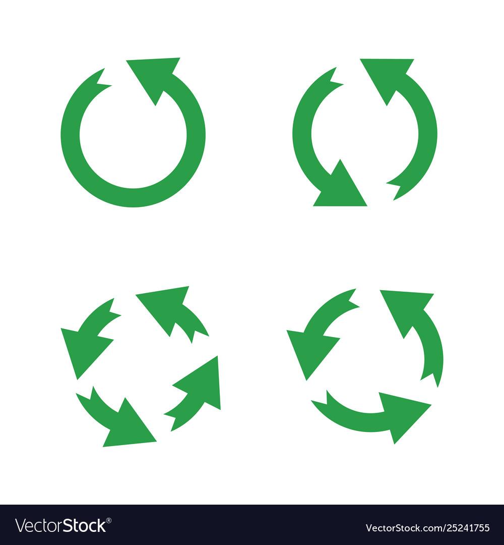 Green reusable arrow icons eco recycle or