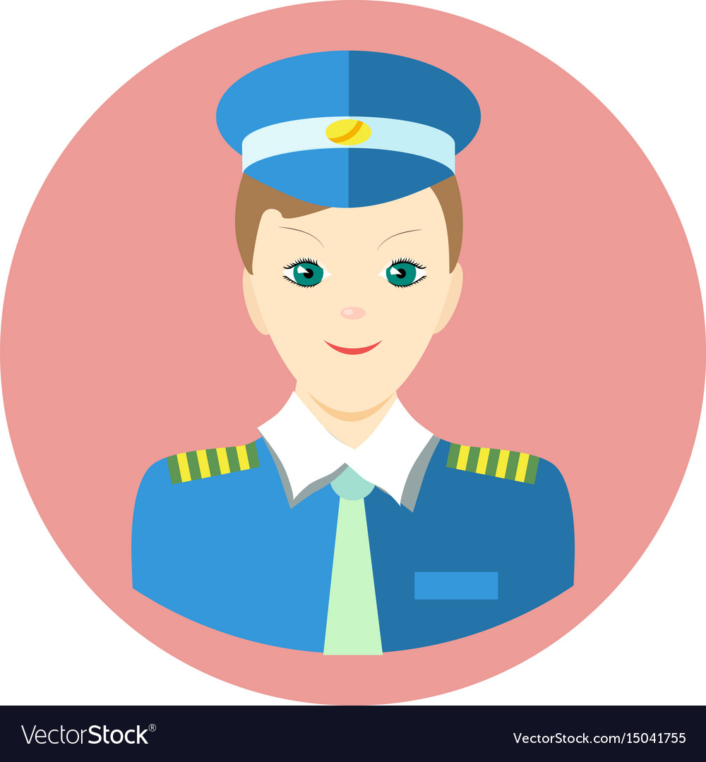 Icon man pilot in a flat style image on a vector image