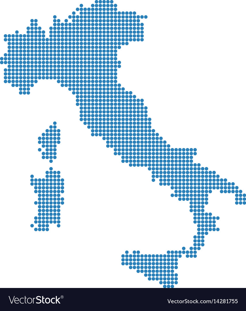 Italian map isolated italy dotted blue map Vector Image