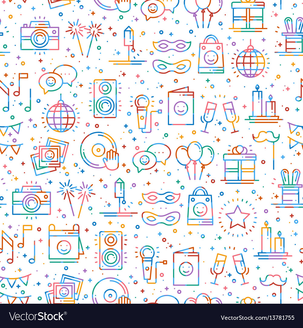 Party celebration seamless pattern birthday
