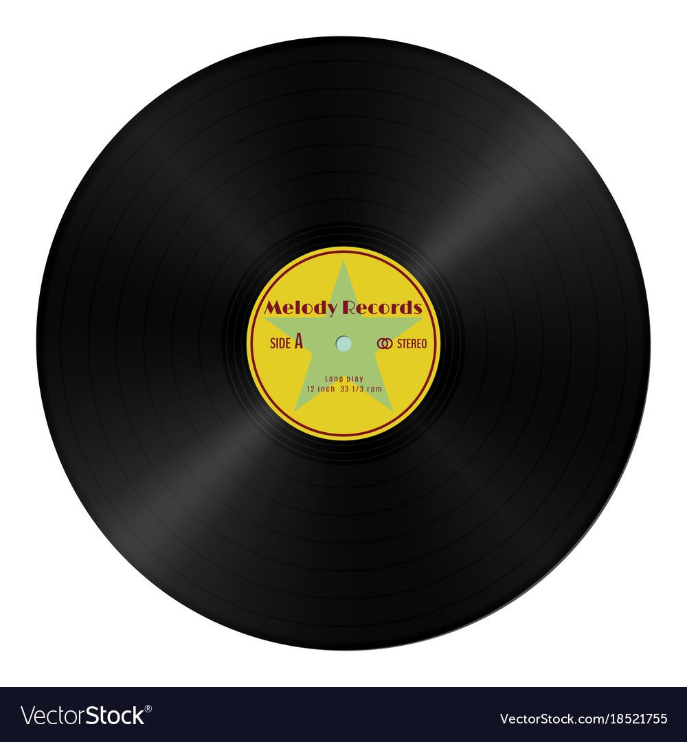 Realistic gramophone vinyl record in retro style vector image