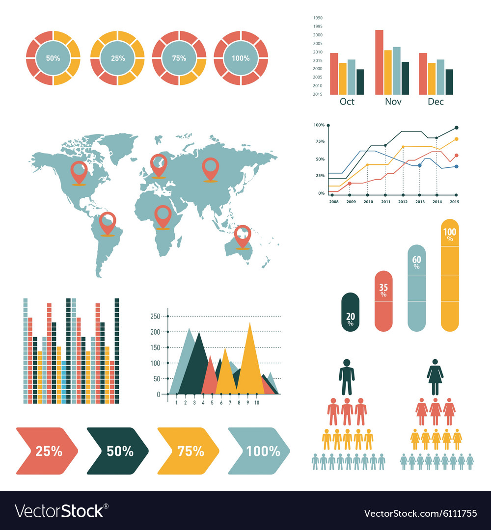 Retro infographics set world map and information
