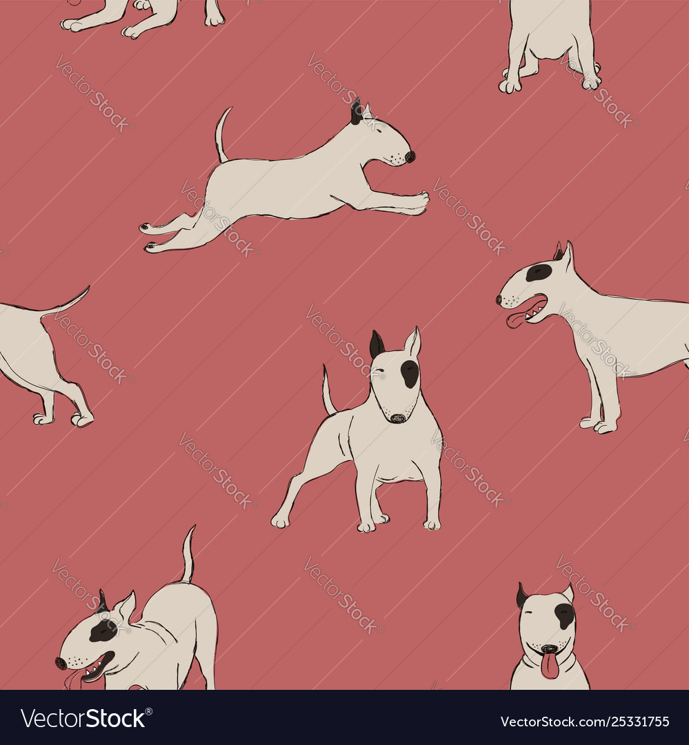 Seamless pattern with bull terrier dog