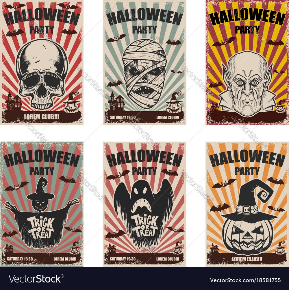 Set of halloween banner templates monster