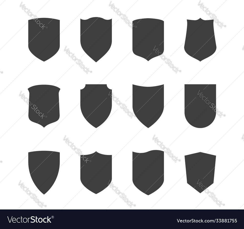 Shield icons set protection symbol black on white