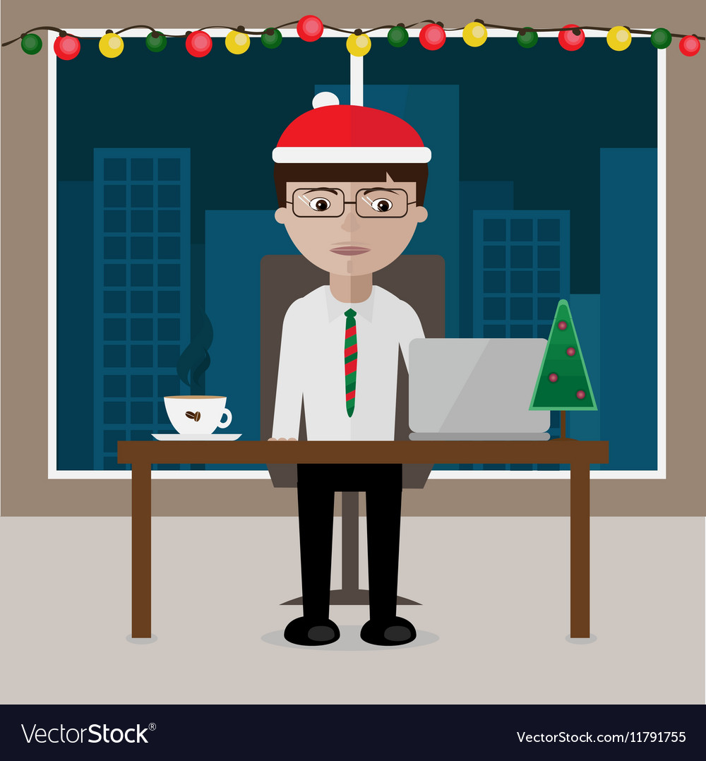 The manager sitting at the table office decorated vector image